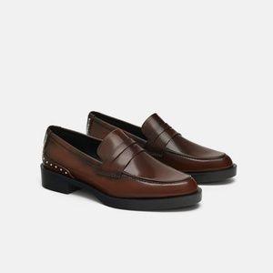 NWT Zara Brandy Studded Loafers